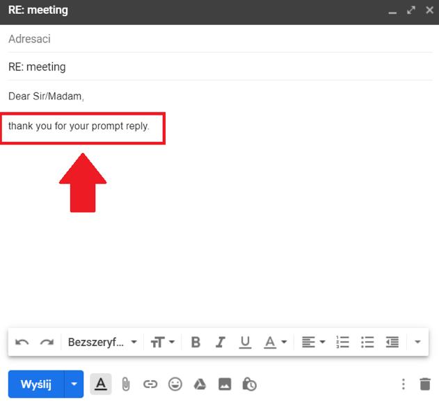 e-mail podziękowanie